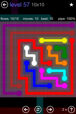 Solution and Answer to the Puzzle for Flow 10mania Pack Set 10x10 Level 57