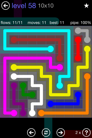 Solution and Answer to the Puzzle for Flow 10mania Pack Set 10x10 Level 58