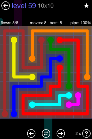 Solution and Answer to the Puzzle for Flow 10mania Pack Set 10x10 Level 59