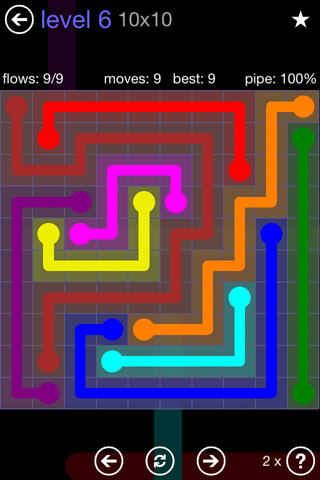 Solution and Answer to the Puzzle for Flow 10mania Pack Set 10x10 Level 6