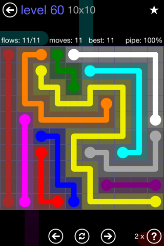Solution and Answer to the Puzzle for Flow 10mania Pack Set 10x10 Level 60