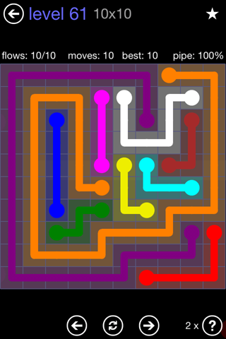 Solution and Answer to the Puzzle for Flow 10mania Pack Set 10x10 Level 61