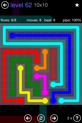 Solution and Answer to the Puzzle for Flow 10mania Pack Set 10x10 Level 62