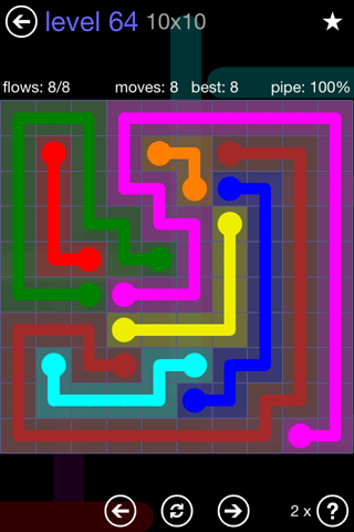 Solution and Answer to the Puzzle for Flow 10mania Pack Set 10x10 Level 64