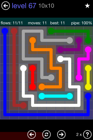 Solution and Answer to the Puzzle for Flow 10mania Pack Set 10x10 Level 67