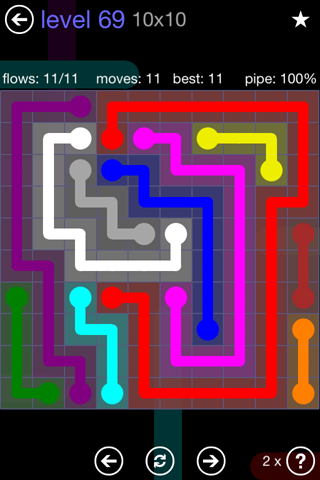 Solution and Answer to the Puzzle for Flow 10mania Pack Set 10x10 Level 69