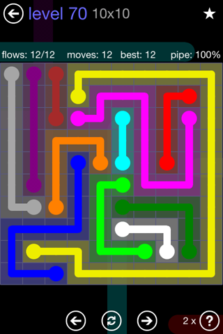 Solution and Answer to the Puzzle for Flow 10mania Pack Set 10x10 Level 70