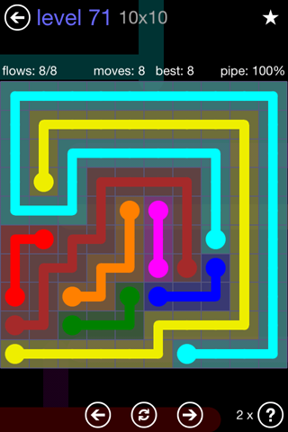 Solution and Answer to the Puzzle for Flow 10mania Pack Set 10x10 Level 71