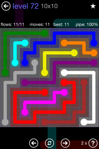Solution and Answer to the Puzzle for Flow 10mania Pack Set 10x10 Level 72