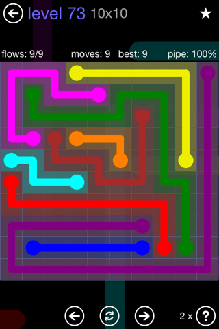 Solution and Answer to the Puzzle for Flow 10mania Pack Set 10x10 Level 73