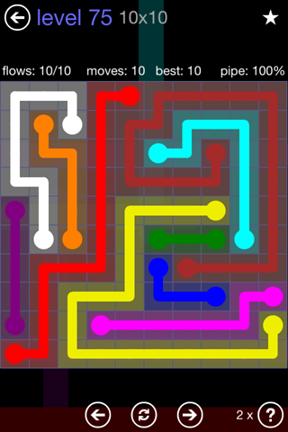 Solution and Answer to the Puzzle for Flow 10mania Pack Set 10x10 Level 75