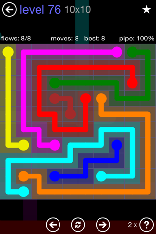 Solution and Answer to the Puzzle for Flow 10mania Pack Set 10x10 Level 76