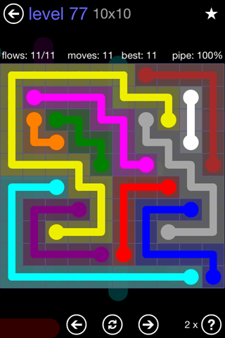 Solution and Answer to the Puzzle for Flow 10mania Pack Set 10x10 Level 77