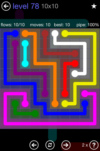 Solution and Answer to the Puzzle for Flow 10mania Pack Set 10x10 Level 78