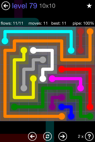 Solution and Answer to the Puzzle for Flow 10mania Pack Set 10x10 Level 79