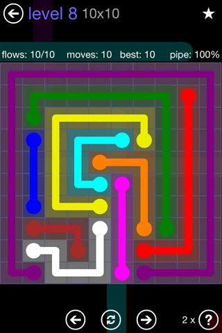 Solution and Answer to the Puzzle for Flow 10mania Pack Set 10x10 Level 8