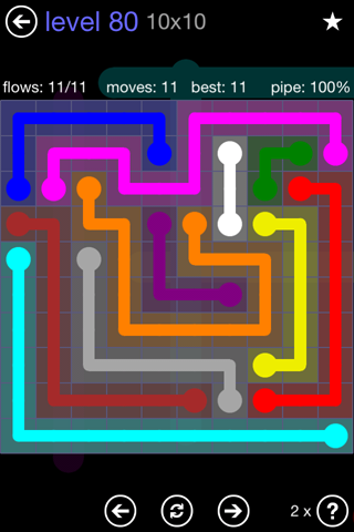 Solution and Answer to the Puzzle for Flow 10mania Pack Set 10x10 Level 80