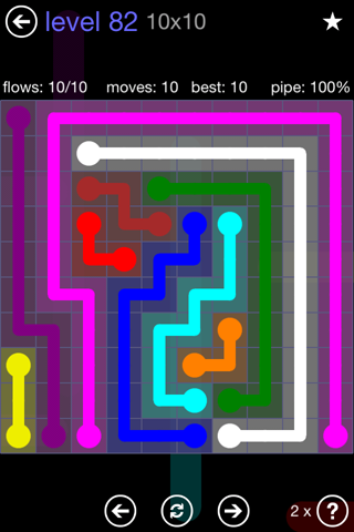Solution and Answer to the Puzzle for Flow 10mania Pack Set 10x10 Level 82