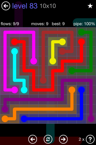 Solution and Answer to the Puzzle for Flow 10mania Pack Set 10x10 Level 83