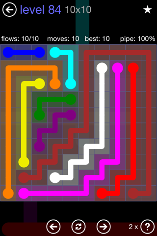 Solution and Answer to the Puzzle for Flow 10mania Pack Set 10x10 Level 84