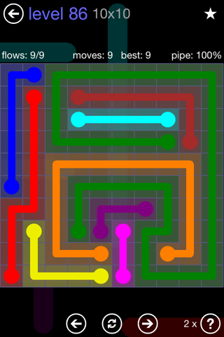 Solution and Answer to the Puzzle for Flow 10mania Pack Set 10x10 Level 86
