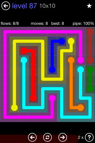 Solution and Answer to the Puzzle for Flow 10mania Pack Set 10x10 Level 87