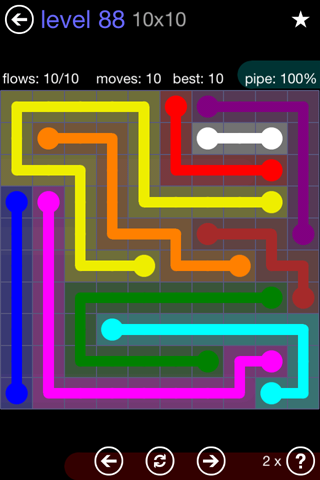 Solution and Answer to the Puzzle for Flow 10mania Pack Set 10x10 Level 88