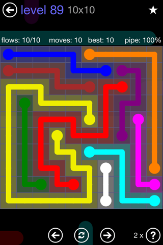 Solution and Answer to the Puzzle for Flow 10mania Pack Set 10x10 Level 89