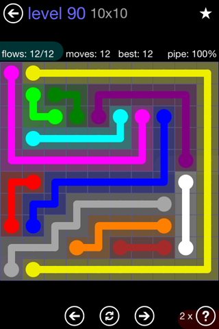 Solution and Answer to the Puzzle for Flow 10mania Pack Set 10x10 Level 90