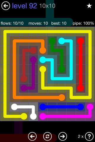 Solution and Answer to the Puzzle for Flow 10mania Pack Set 10x10 Level 92