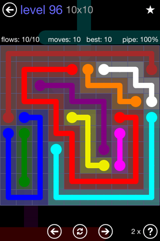 Solution and Answer to the Puzzle for Flow 10mania Pack Set 10x10 Level 96