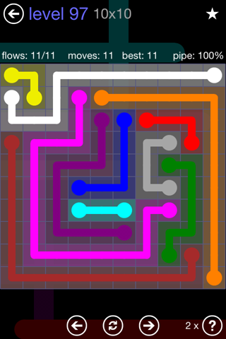 Solution and Answer to the Puzzle for Flow 10mania Pack Set 10x10 Level 97