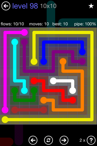 Solution and Answer to the Puzzle for Flow 10mania Pack Set 10x10 Level 98