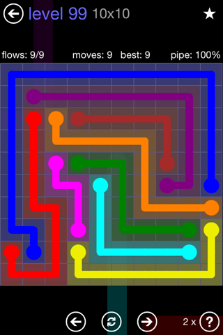 Solution and Answer to the Puzzle for Flow 10mania Pack Set 10x10 Level 99
