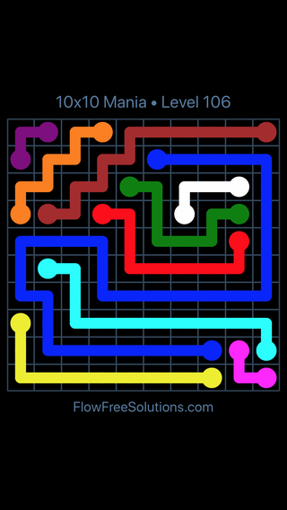 Solution and Answer to the Puzzle for Flow Free 10x10 Mania Level 106