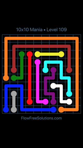 Solution and Answer to the Puzzle for Flow Free 10x10 Mania Level 109