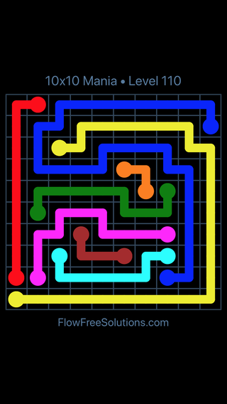 Solution and Answer to the Puzzle for Flow Free 10x10 Mania Level 110