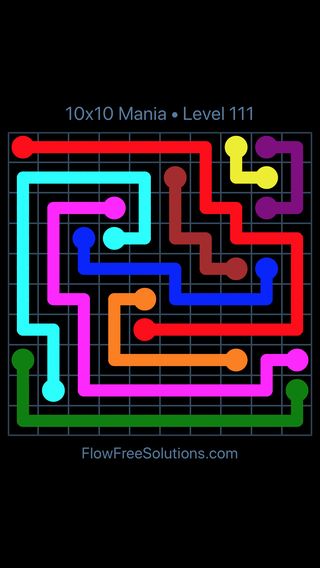 Solution and Answer to the Puzzle for Flow Free 10x10 Mania Level 111