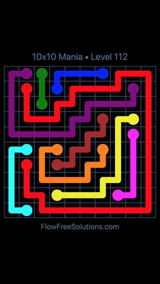 Solution and Answer to the Puzzle for Flow Free 10x10 Mania Level 112