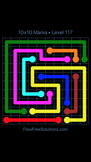 Solution and Answer to the Puzzle for Flow Free 10x10 Mania Level 117