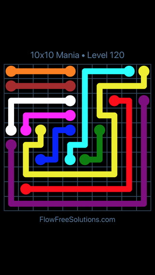 Solution and Answer to the Puzzle for Flow Free 10x10 Mania Level 120