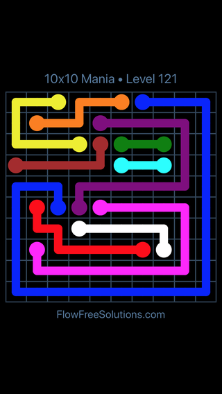 Solution and Answer to the Puzzle for Flow Free 10x10 Mania Level 121
