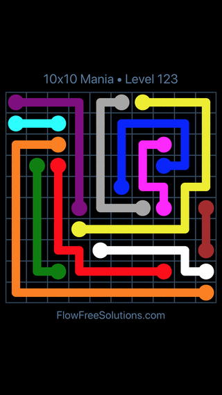 Solution and Answer to the Puzzle for Flow Free 10x10 Mania Level 123