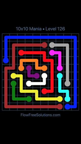 Solution and Answer to the Puzzle for Flow Free 10x10 Mania Level 126