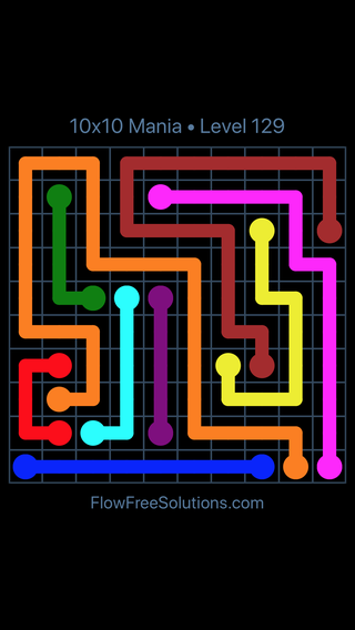 Solution and Answer to the Puzzle for Flow Free 10x10 Mania Level 129