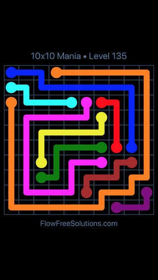 Solution and Answer to the Puzzle for Flow Free 10x10 Mania Level 135