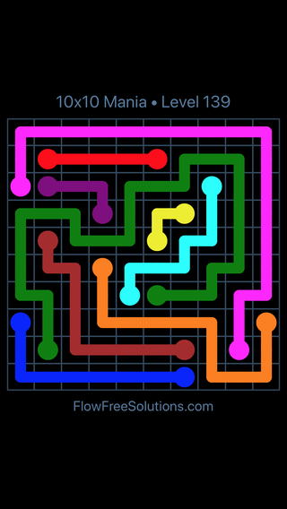 Solution and Answer to the Puzzle for Flow Free 10x10 Mania Level 139