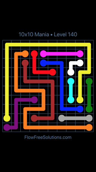 Solution and Answer to the Puzzle for Flow Free 10x10 Mania Level 140