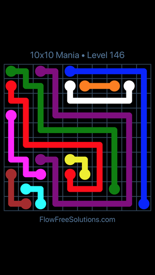 Solution and Answer to the Puzzle for Flow Free 10x10 Mania Level 146