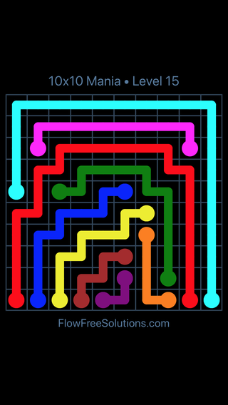 Solution and Answer to the Puzzle for Flow Free 10x10 Mania Level 15